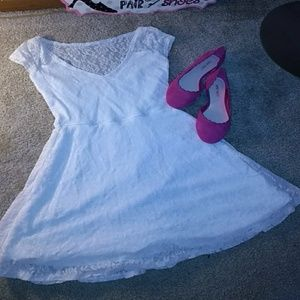 White fit & flare dress